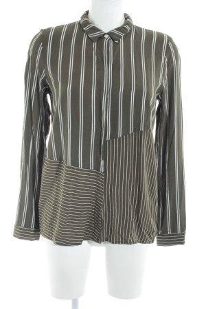Nümph Langarm-Bluse grüngrau-weiß Streifenmuster schlichter Stil