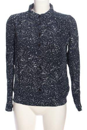 Nümph Langarm-Bluse schwarz-weiß abstraktes Muster Business-Look