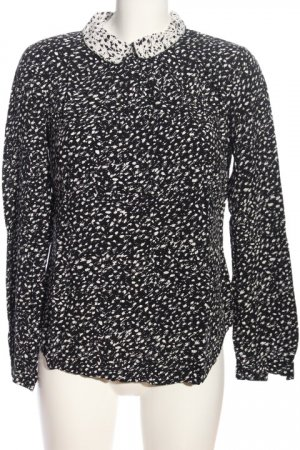 Nümph Langarm-Bluse schwarz-weiß Allover-Druck Casual-Look