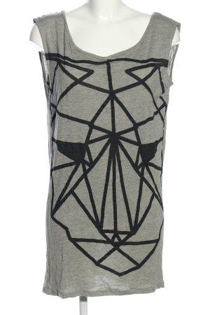 Nümph Top lungo grigio chiaro-nero Stampa a tema stile casual