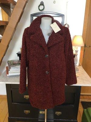 Nümph Manteau en fausse fourrure rouge carmin-bronze polyester