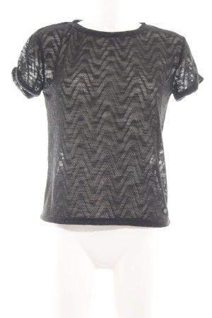 Nümph Netzshirt schwarz Webmuster Casual-Look
