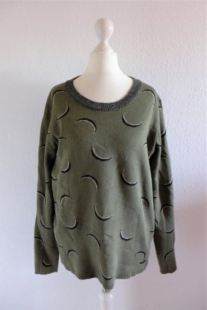 Nümph Pulli Pullover khaki grün gold schwarz Gr. M 36 38