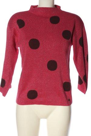 Nümph Pull-over à col roulé rose-brun motif de tache style décontracté