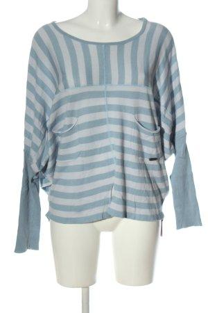 Nümph Pull en maille fine bleu-blanc motif rayé style décontracté