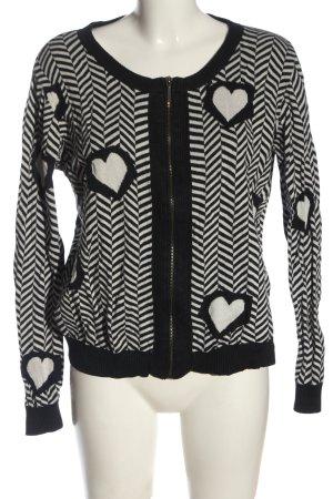 Nümph Veste en tricot noir-blanc motif graphique style décontracté