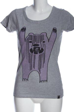Nümph T-Shirt hellgrau-lila meliert Casual-Look