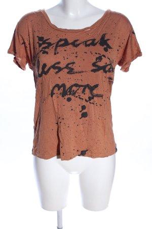 Nümph T-Shirt braun-schwarz Motivdruck Casual-Look