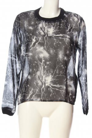 Nümph Transparenz-Bluse silberfarben-weiß abstraktes Muster Casual-Look