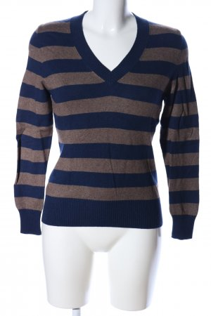 Nuevo V-Ausschnitt-Pullover blau-braun meliert Casual-Look