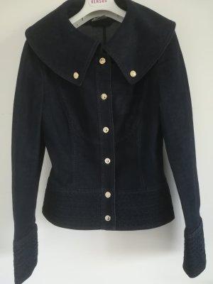 Nur 2x getragen: Edle, taillierte Jeansjacke von ESCADA mit ESCADA Bedruckten Knoepfen, Gr. 36