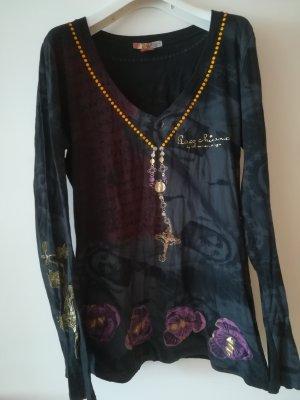 Christian Audigier Koszulka z długim rękawem czarny-ciemny fiolet