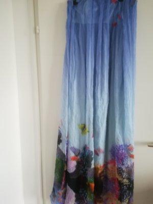 Nur 2x getragen: Schulterfrei,100% SEIDE,Unterkleid mit transparentem Stoff drueber,3D Optik,Gr. 38, locker fallend