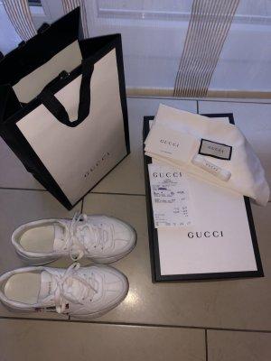 Gucci Sneakresy na obcasie w kolorze białej wełny-biały Skóra