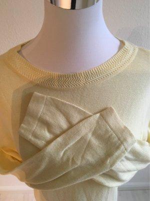 Nuwina Długi sweter bez rękawów jasnożółty-bladożółty