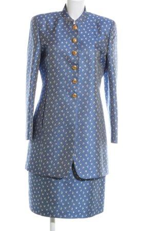 NVSCO Kostüm blau-wollweiß Allover-Druck extravaganter Stil