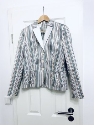 NVSCO Kurz-Blazer Jackett Oberteil, made in Italy beige gestreift Gr. 38/ M
