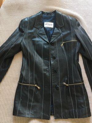 NVSCO Leder-Blazer in Dunkel-Blau Gr. 36