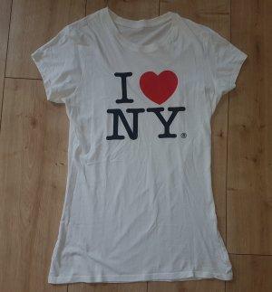 1 NY tee T-shirt imprimé blanc coton