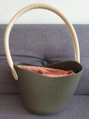 O bag, Tasche, Grau, Mit Rot/weiß Karierten Stoff