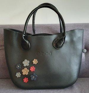 O bag TASCHE, Voll Leder, Mit Logo, Blumen Applikation