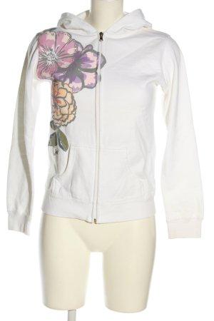 O'Neil Kapuzenjacke weiß-lila Blumenmuster Casual-Look
