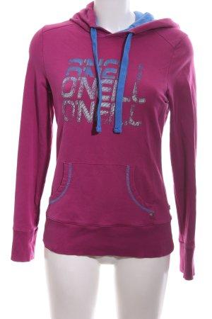 O'neill Kapuzensweatshirt pink-blau Schriftzug gedruckt Casual-Look