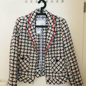 Oui Tweed Blazer white-bright red wool