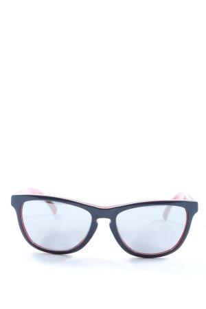 Oakley ovale Sonnenbrille blau-rot Schriftzug gedruckt Elegant