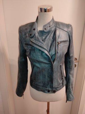 Oakwood Veste en cuir bleu azur-bleu acier cuir