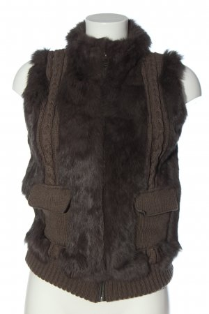Oakwood Fur vest brown cable stitch casual look