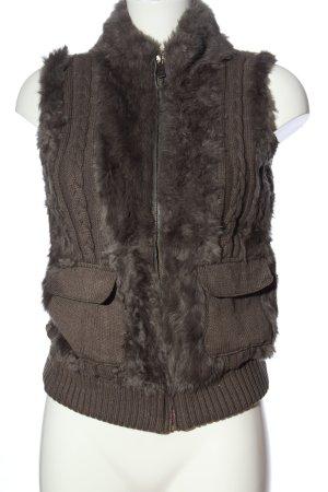 Oakwood Smanicato di pelliccia marrone punto treccia stile casual
