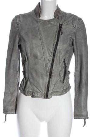 Oakwood Leather Jacket light grey casual look