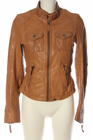 Oakwood Chaqueta de cuero marrón elegante