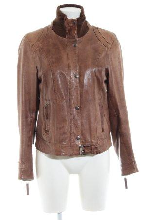Oakwood Chaqueta de cuero marrón estilo «business»