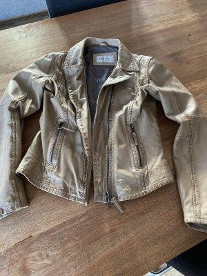 Oakwood Veste en cuir gris brun-beige