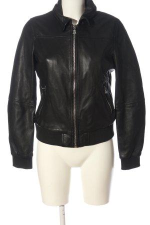 Oakwood Veste en cuir noir style décontracté