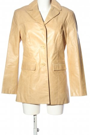 Oakwood Skórzany płaszcz kremowy W stylu casual