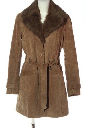 Oakwood Abrigo de cuero marrón look casual