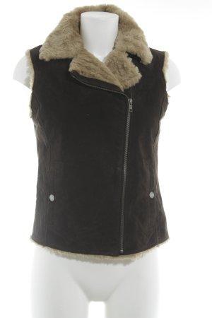 Oakwood Lederweste dunkelbraun-creme Street-Fashion-Look