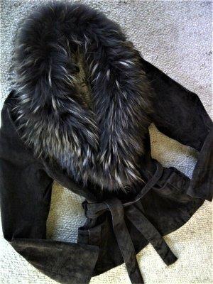 Oakwood Veste de fourrure brun foncé daim