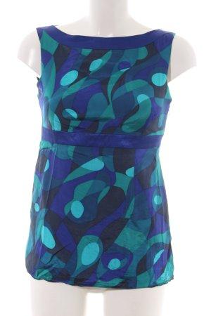 Oasis ärmellose Bluse blau-türkis abstraktes Muster Casual-Look