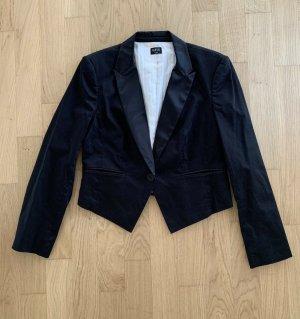 Oasis Krótka marynarka czarny-w kolorze białej wełny Bawełna