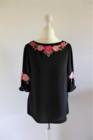 Oasis Boho Oberteil Bluse Shirt schwarz Blume rot Gr. 36 S neu