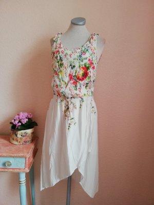 Oasis Gr. UK 10 EUR 36 S weiß creme bunt geblümt Blumen Schleifen Sommerkleid Kleid Vokuhila Midikleid