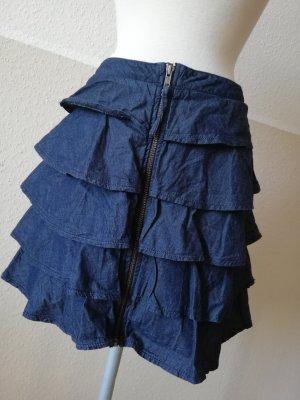 Oasis Jeans Minirock gerüscht Jeansrock Mini Rock kurz blau Gr. UK 12 EUR 38 S M