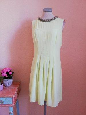Oasis Kleid gelb limette Gr. UK 10 D 36 S Pailletten Perlen cutout neu Sommerkleid Abendkleid festlich