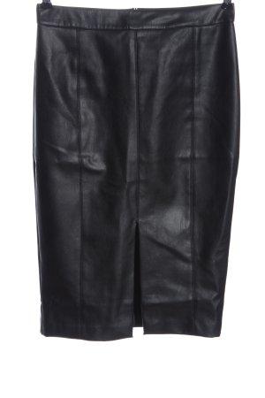 Oasis Jupe en cuir synthétique noir style décontracté