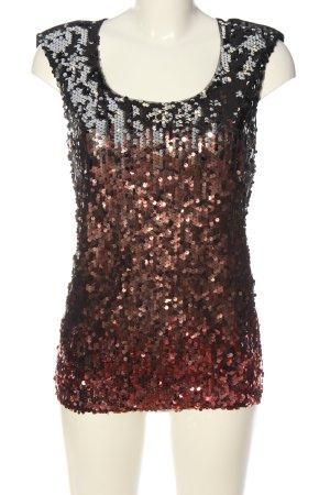 Oasis Blouse à manches courtes noir-bronze Motif de tissage style décontracté