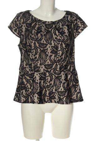 Oasis Bluzka z krótkim rękawem czarny-w kolorze białej wełny Wzór w kwiaty